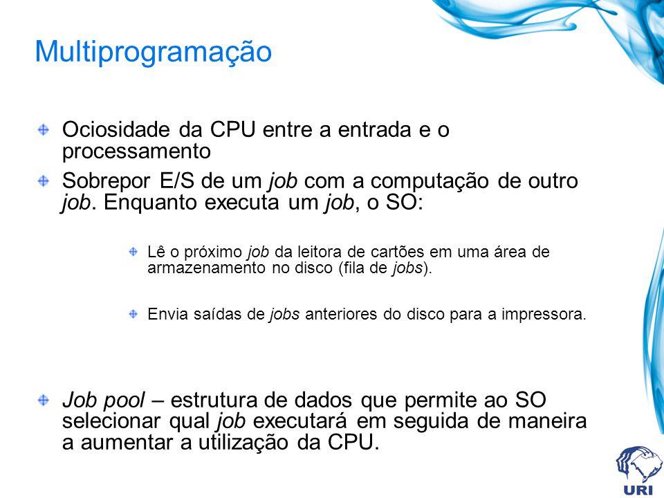 Ociosidade da CPU entre a entrada e o processamento Sobrepor E/S de um job com a computação de outro job. Enquanto executa um job, o SO: Lê o próximo
