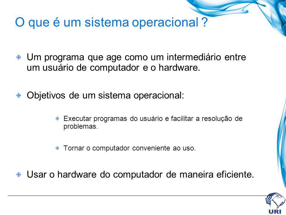 Um programa que age como um intermediário entre um usuário de computador e o hardware. Objetivos de um sistema operacional: Executar programas do usuá