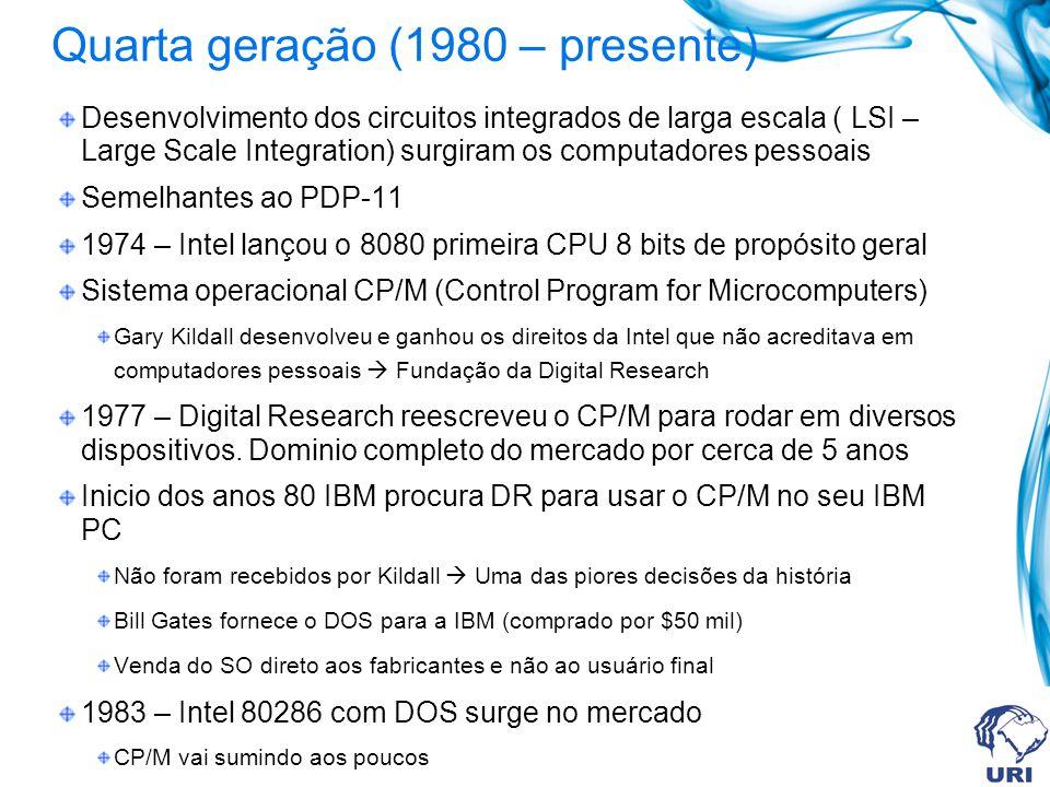 Quarta geração (1980 – presente) Desenvolvimento dos circuitos integrados de larga escala ( LSI – Large Scale Integration) surgiram os computadores pe
