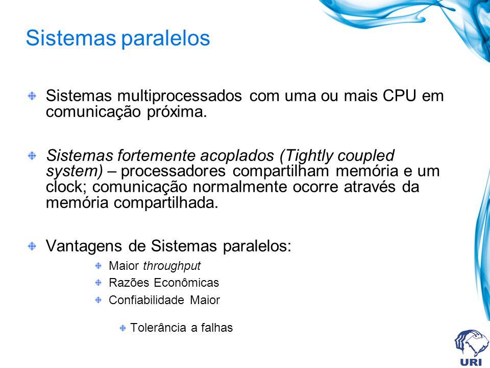 Sistemas multiprocessados com uma ou mais CPU em comunicação próxima. Sistemas fortemente acoplados (Tightly coupled system) – processadores compartil