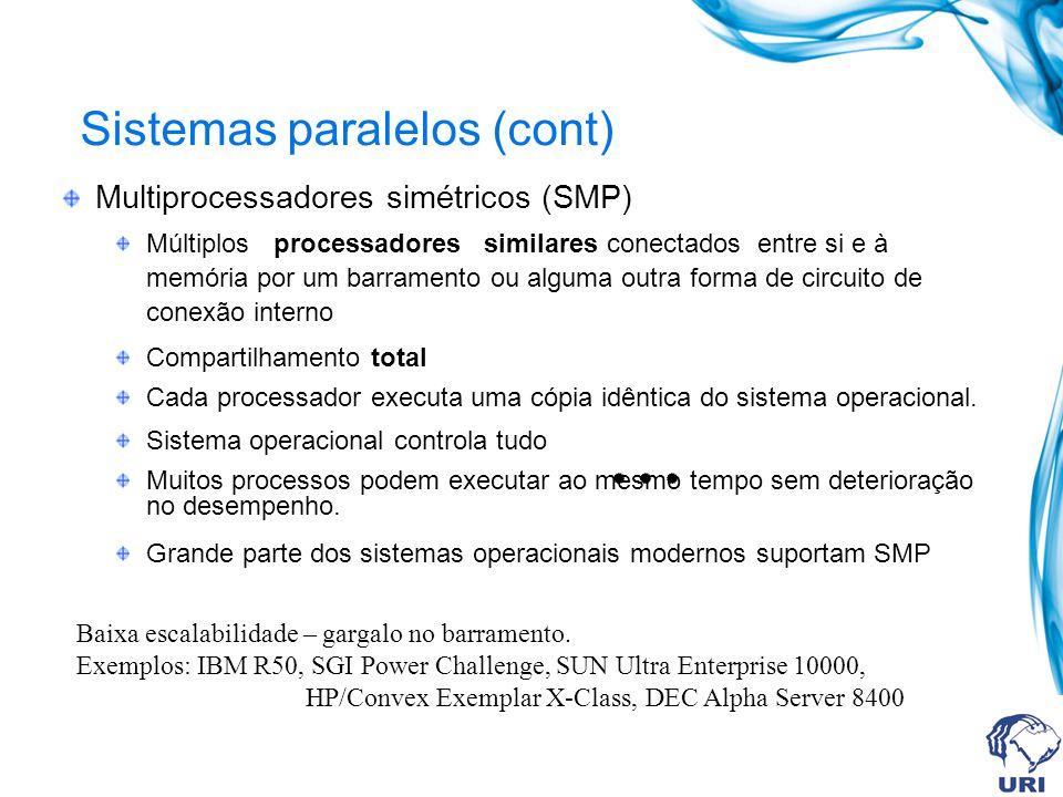 Sistemas paralelos (cont) Multiprocessadores simétricos (SMP) Múltiplos processadores similares conectados entre si e à memória por um barramento ou a