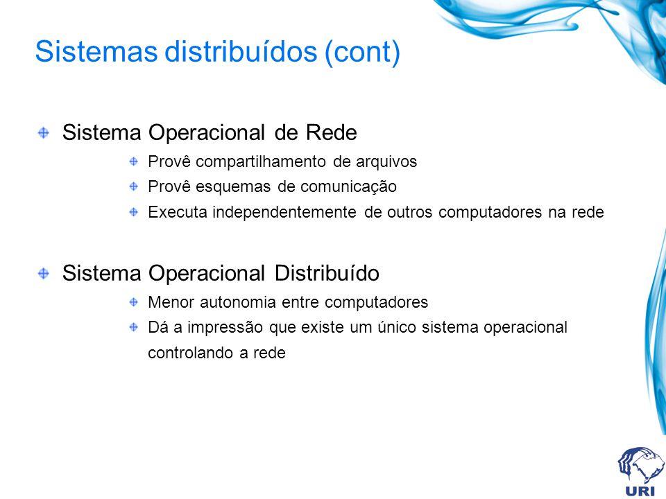 Sistema Operacional de Rede Provê compartilhamento de arquivos Provê esquemas de comunicação Executa independentemente de outros computadores na rede