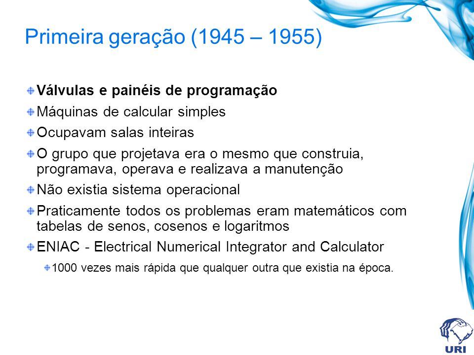 Primeira geração (1945 – 1955) Válvulas e painéis de programação Máquinas de calcular simples Ocupavam salas inteiras O grupo que projetava era o mesm