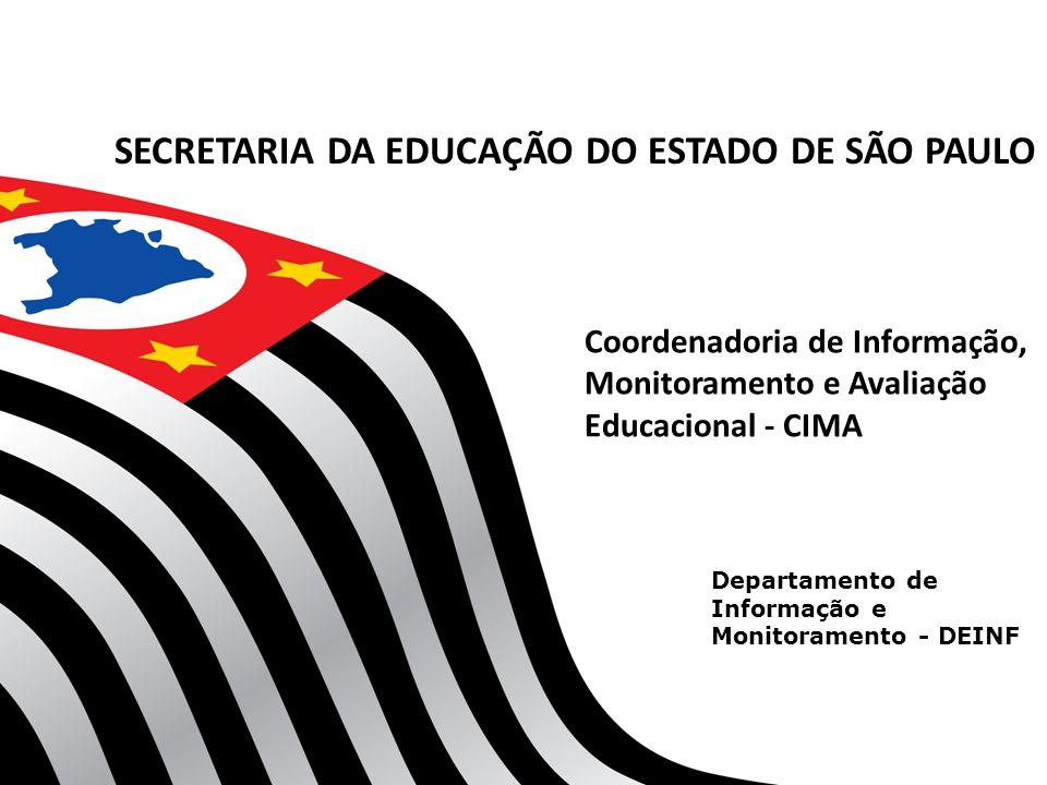 Departamento de Informação e Monitoramento - DEINF Coordenadoria de Informação, Monitoramento e Avaliação Educacional - CIMA SECRETARIA DA EDUCAÇÃO DO ESTADO DE SÃO PAULO