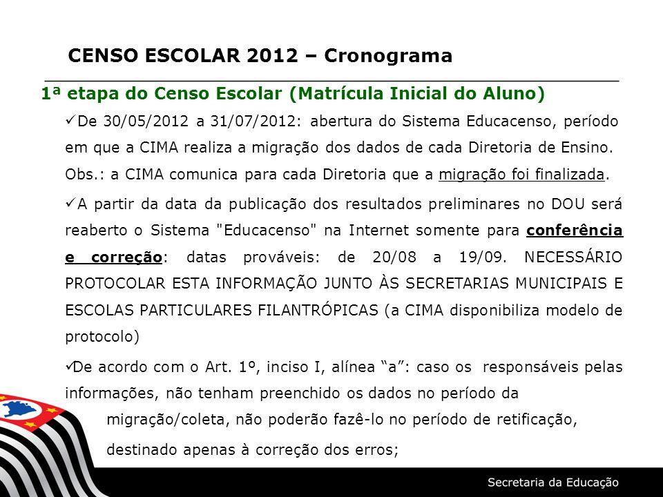 CENSO ESCOLAR 2012 – Cronograma 1ª etapa do Censo Escolar (Matrícula Inicial do Aluno)  De 30/05/2012 a 31/07/2012: abertura do Sistema Educacenso, período em que a CIMA realiza a migração dos dados de cada Diretoria de Ensino.