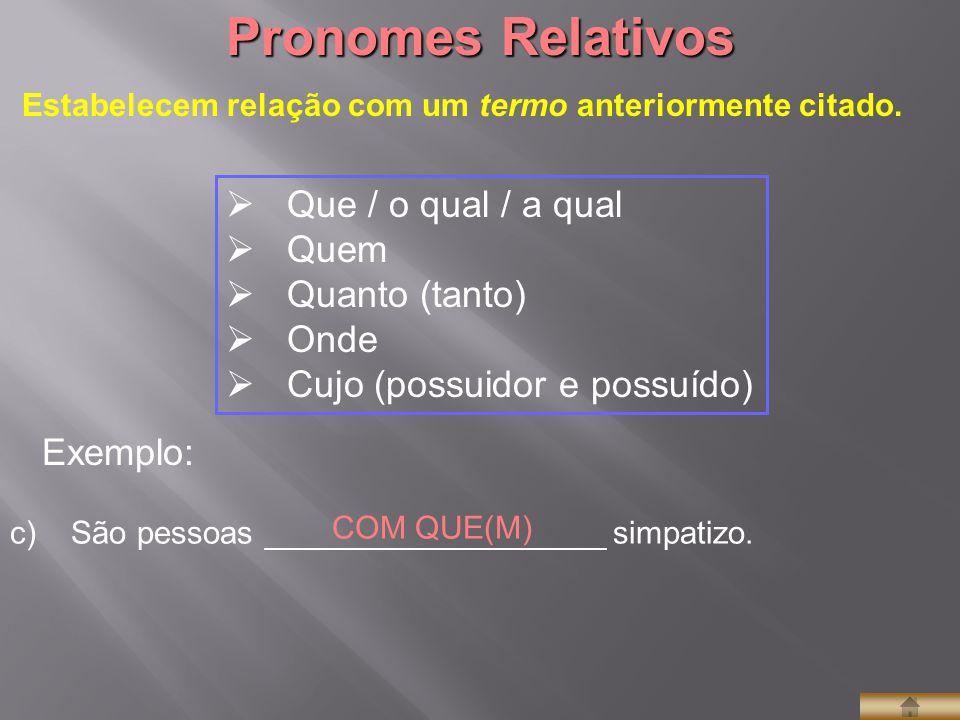  Que / o qual / a qual  Quem  Quanto (tanto)  Onde  Cujo (possuidor e possuído) Pronomes Relativos Estabelecem relação com um termo anteriormente