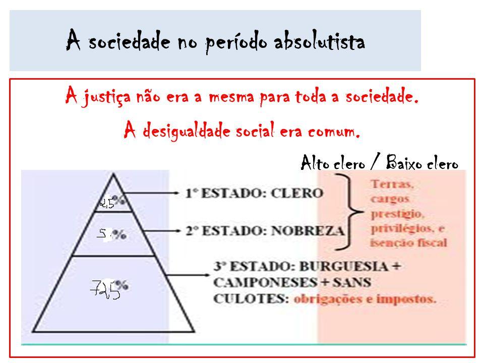 A sociedade no período absolutista A justiça não era a mesma para toda a sociedade. A desigualdade social era comum. Alto clero / Baixo clero