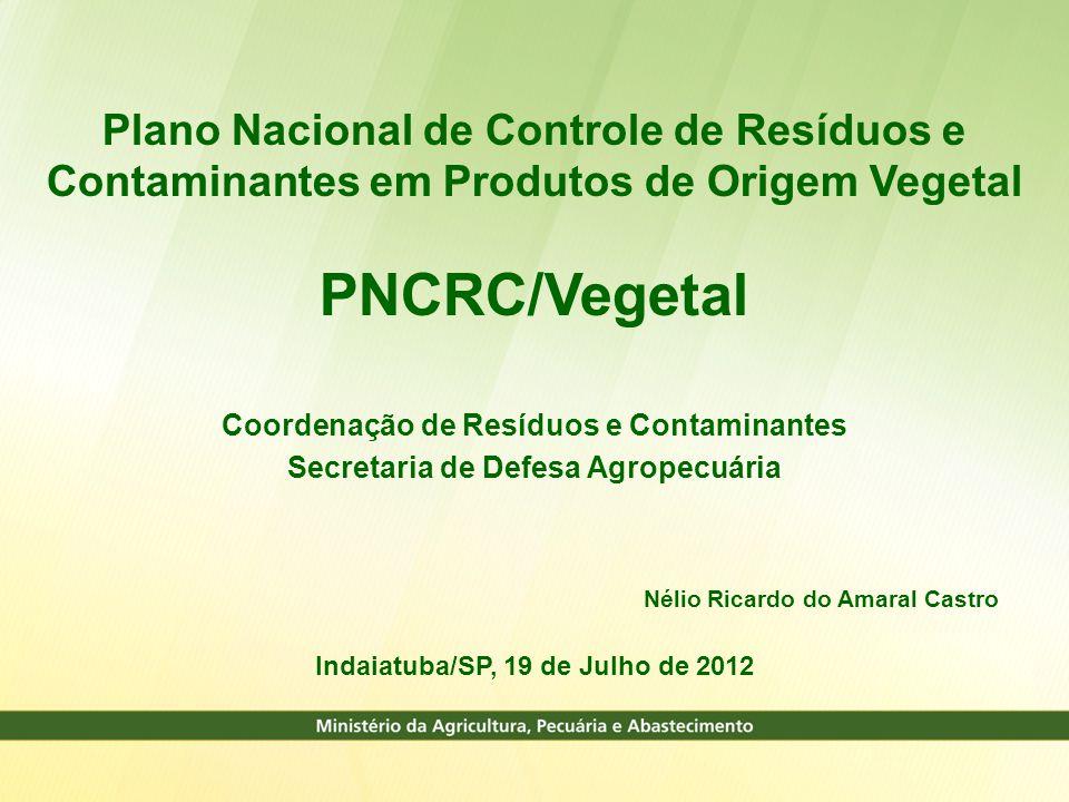 Plano Nacional de Controle de Resíduos e Contaminantes em Produtos de Origem Vegetal PNCRC/Vegetal Coordenação de Resíduos e Contaminantes Secretaria