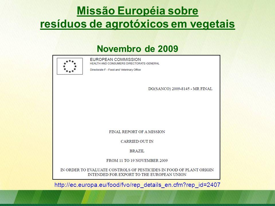 Missão Européia sobre resíduos de agrotóxicos em vegetais Novembro de 2009 http://ec.europa.eu/food/fvo/rep_details_en.cfm?rep_id=2407