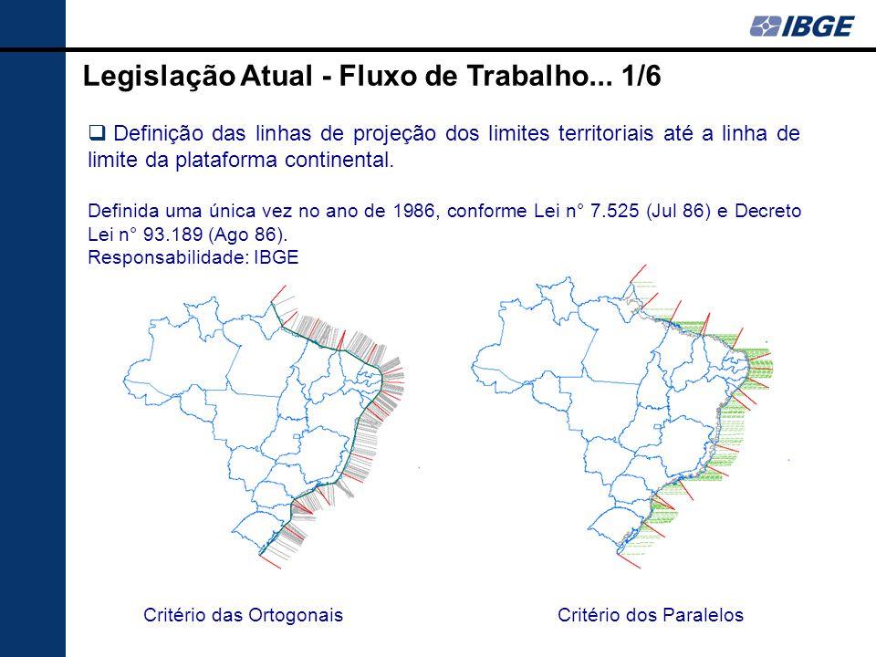 Legislação Atual - Fluxo de Trabalho... 1/6  Definição das linhas de projeção dos limites territoriais até a linha de limite da plataforma continenta