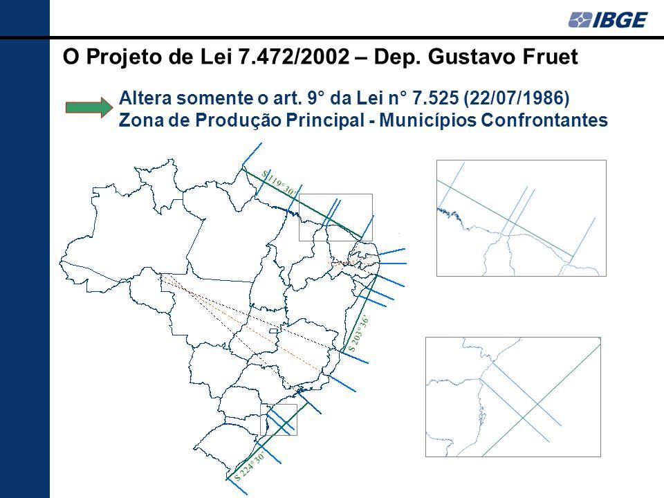 O Projeto de Lei 7.472/2002 – Dep. Gustavo Fruet Altera somente o art. 9° da Lei n° 7.525 (22/07/1986) Zona de Produção Principal - Municípios Confron
