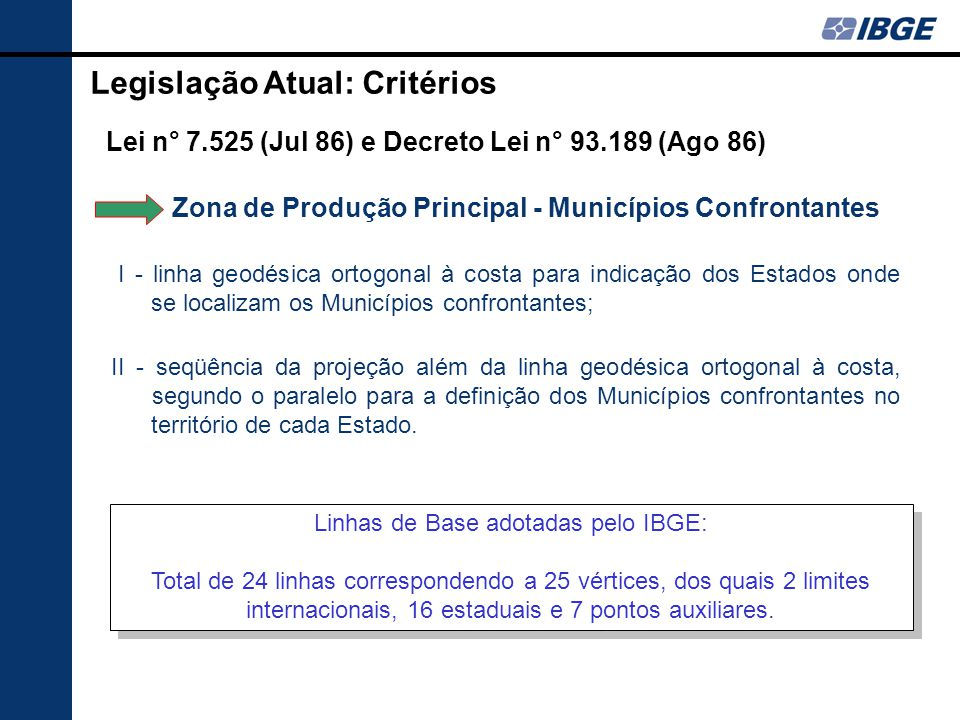 Lei n° 7.525 (Jul 86) e Decreto Lei n° 93.189 (Ago 86) I - linha geodésica ortogonal à costa para indicação dos Estados onde se localizam os Município
