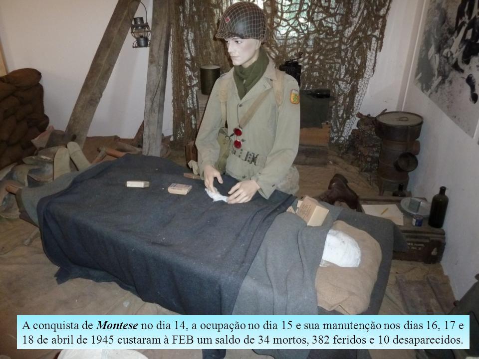 Além de peças de uniforme, objetos e utensílios utilizados pela FEB na Itália, a sala dedicada ao Brasil reproduz uma estação de comunicações e uma en