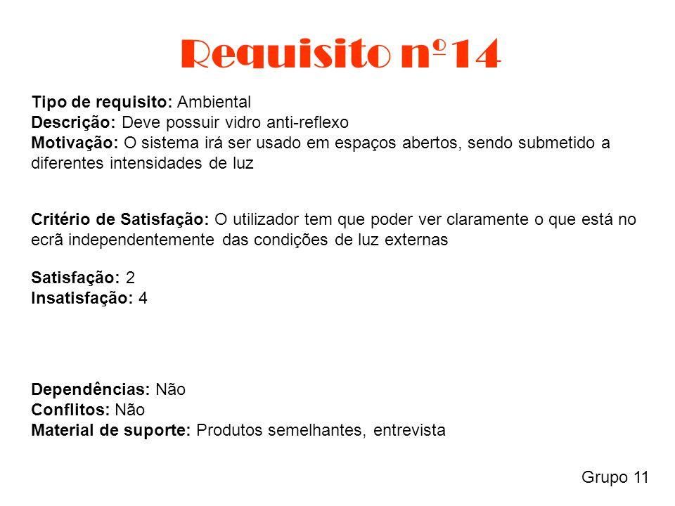Requisito nº14 Grupo 11 Tipo de requisito: Ambiental Descrição: Deve possuir vidro anti-reflexo Motivação: O sistema irá ser usado em espaços abertos,