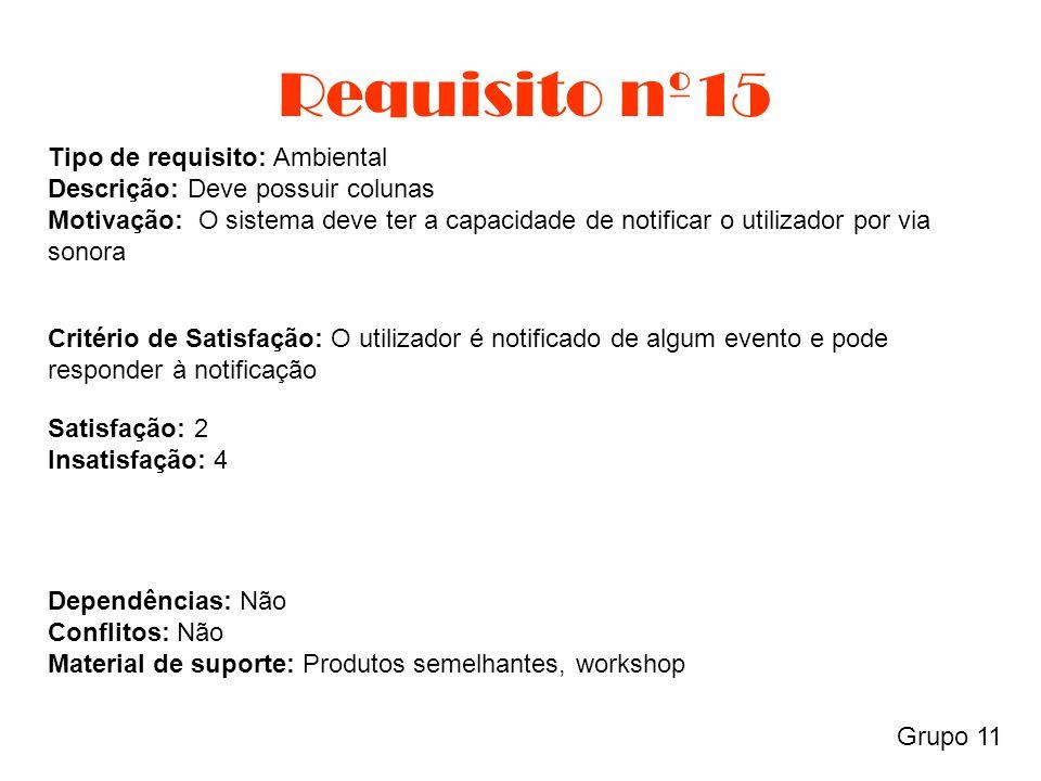 Requisito nº15 Grupo 11 Tipo de requisito: Ambiental Descrição: Deve possuir colunas Motivação: O sistema deve ter a capacidade de notificar o utiliza