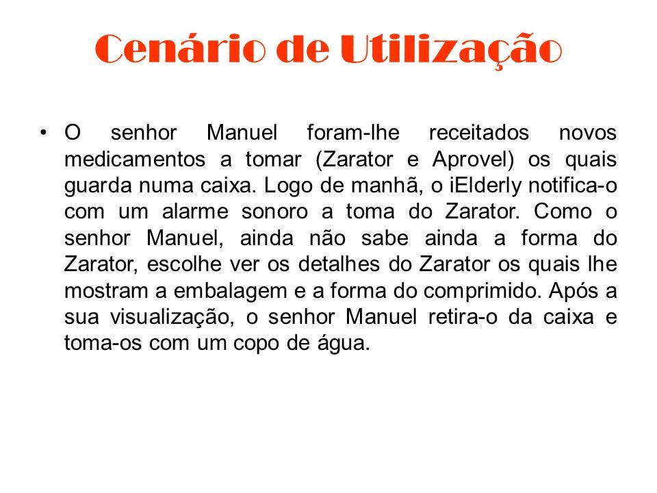 •O senhor Manuel foram-lhe receitados novos medicamentos a tomar (Zarator e Aprovel) os quais guarda numa caixa. Logo de manhã, o iElderly notifica-o
