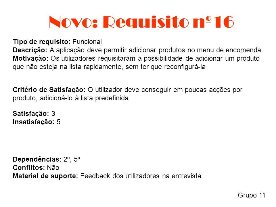 Novo: Requisito nº16 Grupo 11 Tipo de requisito: Funcional Descrição: A aplicação deve permitir adicionar produtos no menu de encomenda Motivação: Os