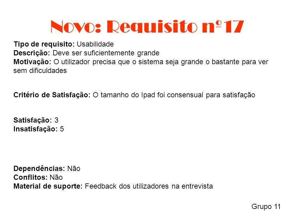 Novo: Requisito nº17 Grupo 11 Tipo de requisito: Usabilidade Descrição: Deve ser suficientemente grande Motivação: O utilizador precisa que o sistema