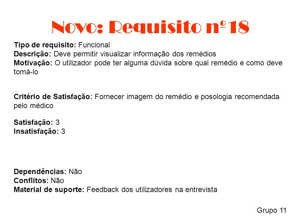 Novo: Requisito nº18 Grupo 11 Tipo de requisito: Funcional Descrição: Deve permitir visualizar informação dos remédios Motivação: O utilizador pode te