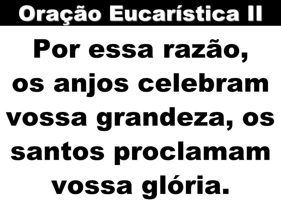 Por essa razão, os anjos celebram vossa grandeza, os santos proclamam vossa glória. Oração Eucarística II