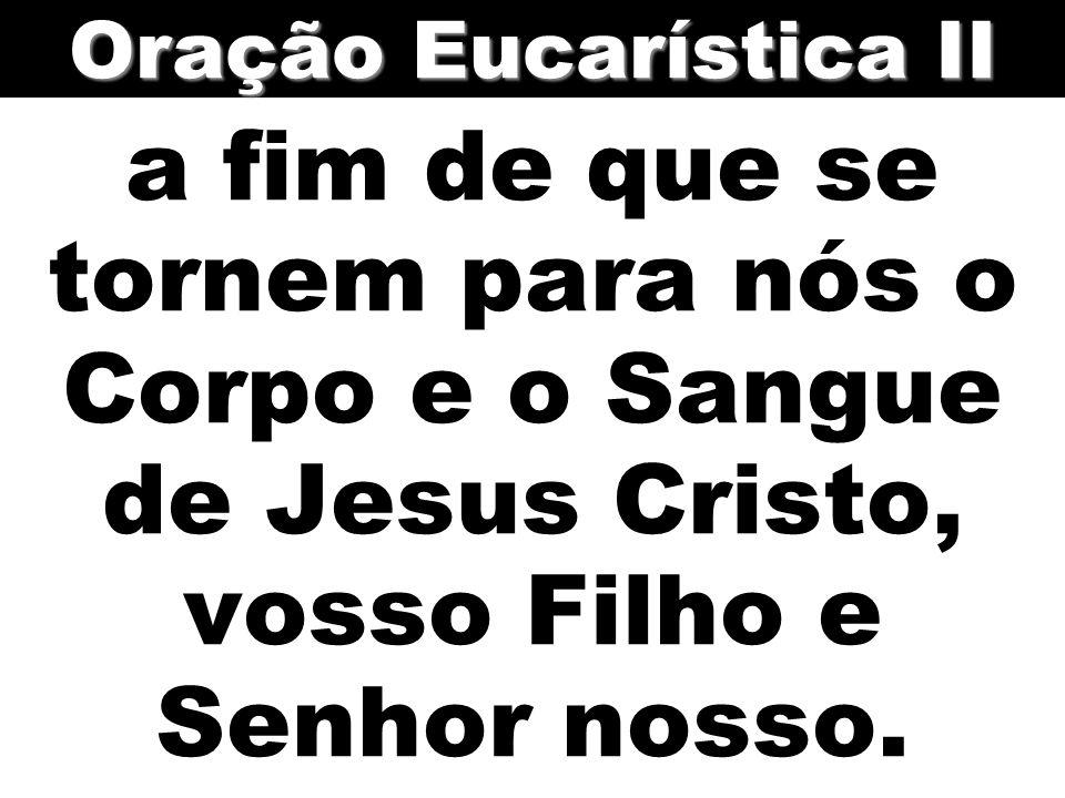 a fim de que se tornem para nós o Corpo e o Sangue de Jesus Cristo, vosso Filho e Senhor nosso. Oração Eucarística II
