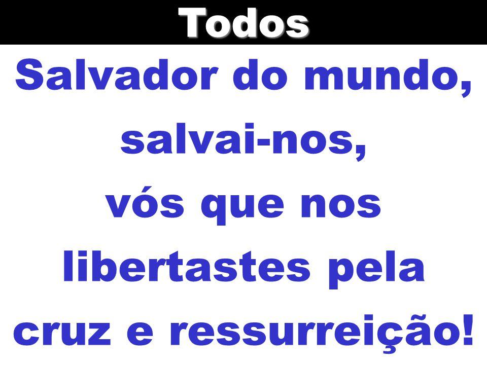 Salvador do mundo, salvai-nos, vós que nos libertastes pela cruz e ressurreição!Todos