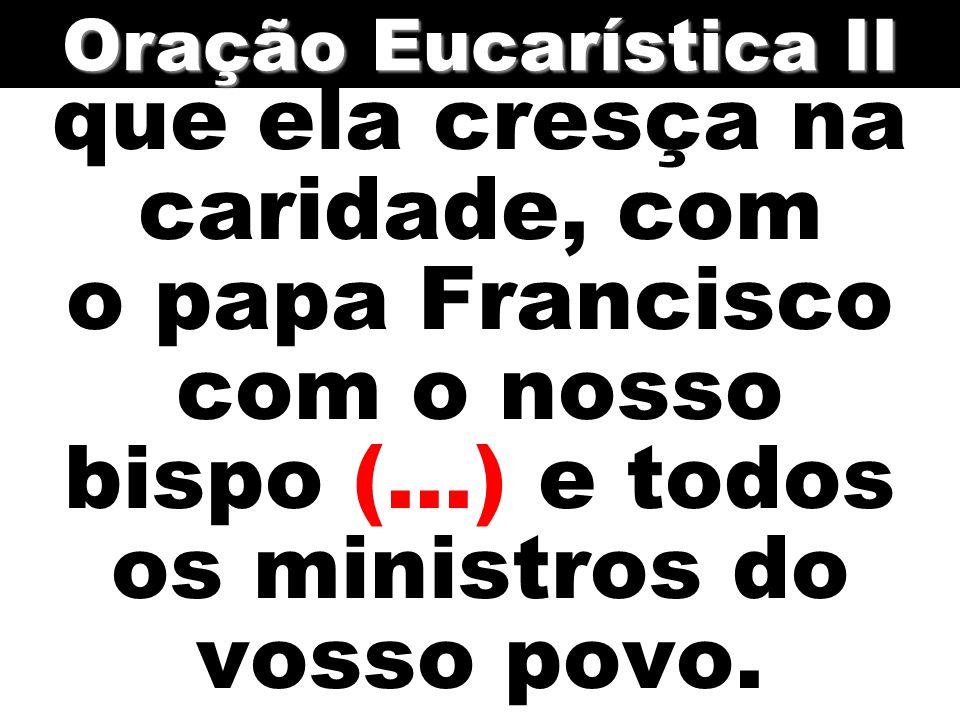 que ela cresça na caridade, com o papa Francisco com o nosso bispo (...) e todos os ministros do vosso povo. Oração Eucarística II