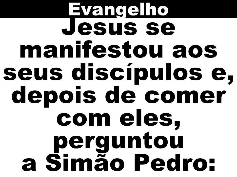 Jesus se manifestou aos seus discípulos e, depois de comer com eles, perguntou a Simão Pedro: Evangelho