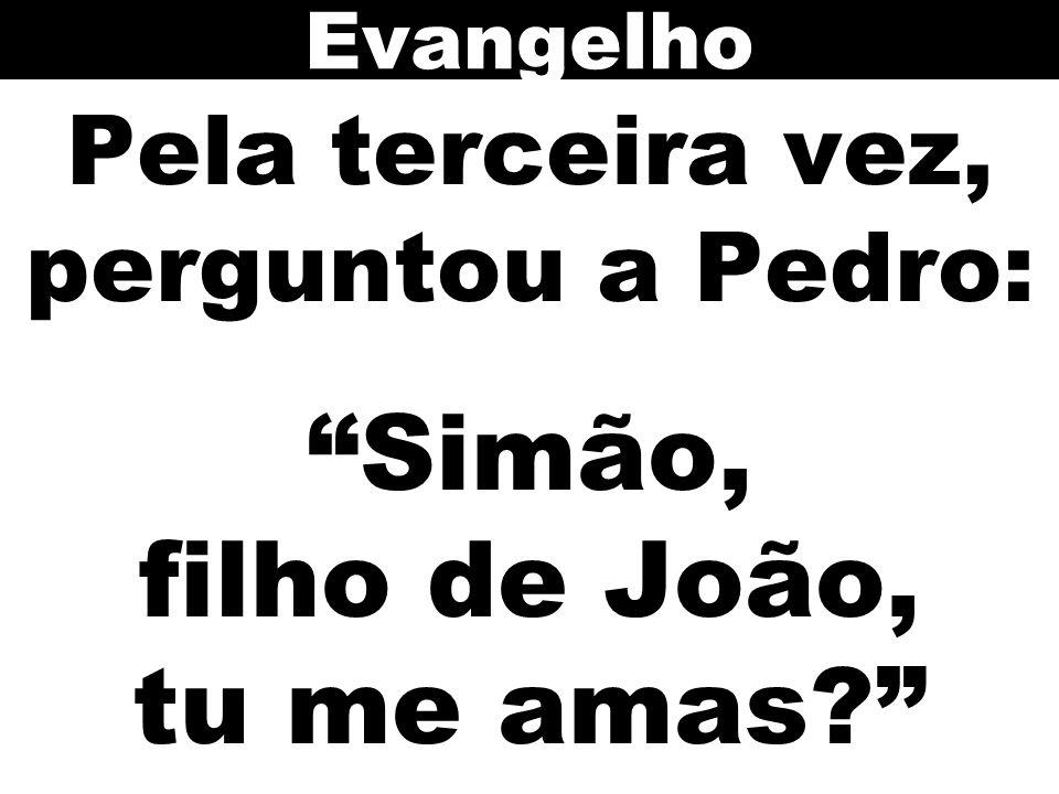 """Pela terceira vez, perguntou a Pedro: """"Simão, filho de João, tu me amas?"""" Evangelho"""