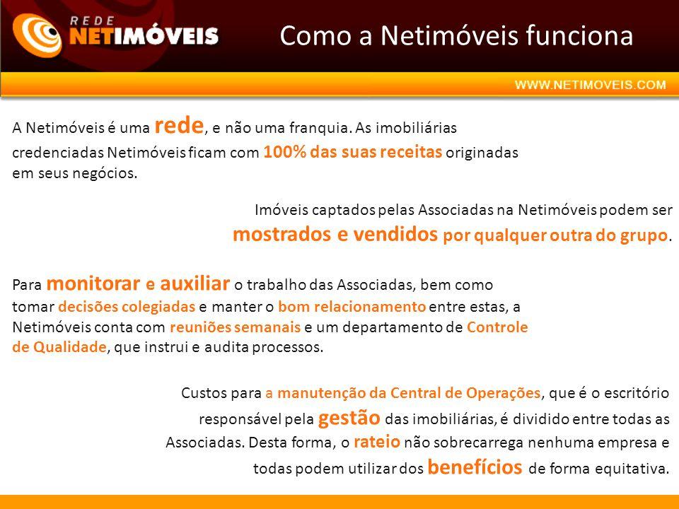 Como a Netimóveis funciona A Netimóveis é uma rede, e não uma franquia. As imobiliárias credenciadas Netimóveis ficam com 100% das suas receitas origi