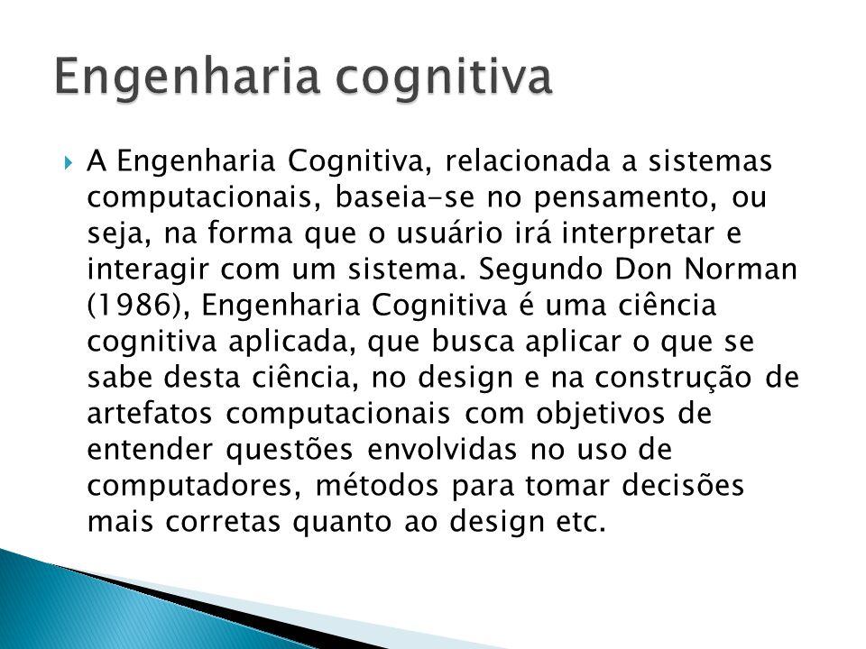  A Engenharia Cognitiva, relacionada a sistemas computacionais, baseia-se no pensamento, ou seja, na forma que o usuário irá interpretar e interagir com um sistema.