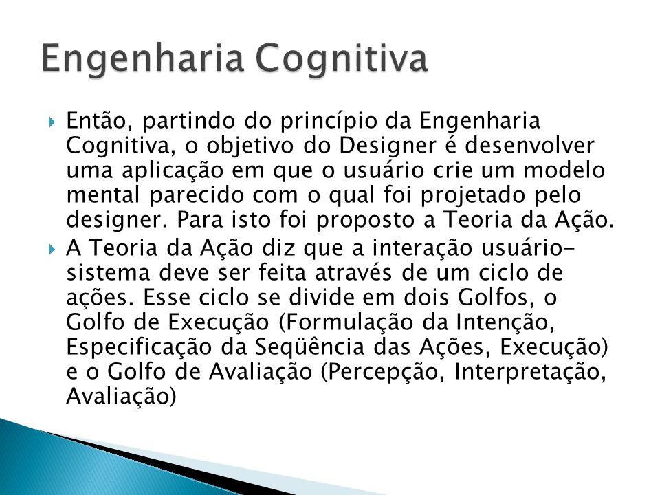  Então, partindo do princípio da Engenharia Cognitiva, o objetivo do Designer é desenvolver uma aplicação em que o usuário crie um modelo mental parecido com o qual foi projetado pelo designer.