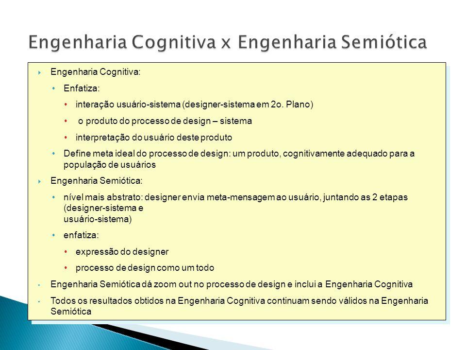  Engenharia Cognitiva: •Enfatiza: •interação usuário-sistema (designer-sistema em 2o.