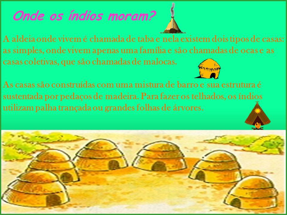 A aldeia onde vivem é chamada de taba e nela existem dois tipos de casas: as simples, onde vivem apenas uma família e são chamadas de ocas e as casas