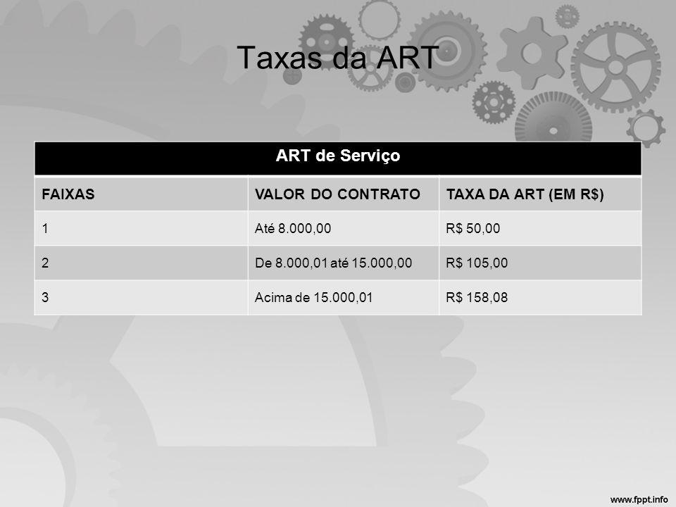 Taxas da ART ART de Serviço FAIXASVALOR DO CONTRATOTAXA DA ART (EM R$) 1Até 8.000,00R$ 50,00 2De 8.000,01 até 15.000,00R$ 105,00 3Acima de 15.000,01R$