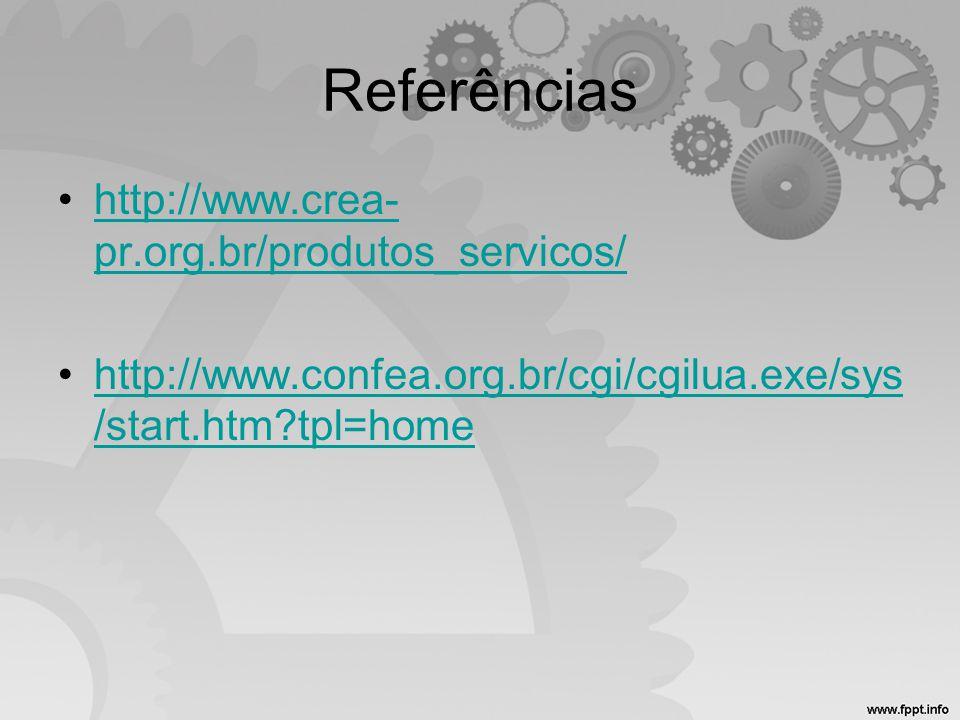 Referências •http://www.crea- pr.org.br/produtos_servicos/http://www.crea- pr.org.br/produtos_servicos/ •http://www.confea.org.br/cgi/cgilua.exe/sys /