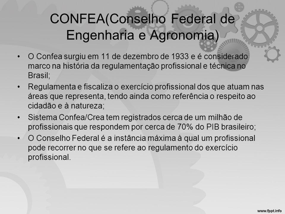 CONFEA(Conselho Federal de Engenharia e Agronomia) •O Confea surgiu em 11 de dezembro de 1933 e é considerado marco na história da regulamentação prof