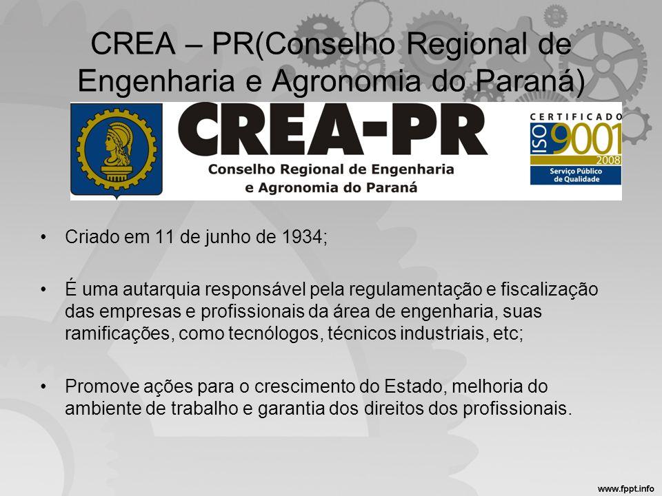 CREA – PR(Conselho Regional de Engenharia e Agronomia do Paraná) •Criado em 11 de junho de 1934; •É uma autarquia responsável pela regulamentação e fi