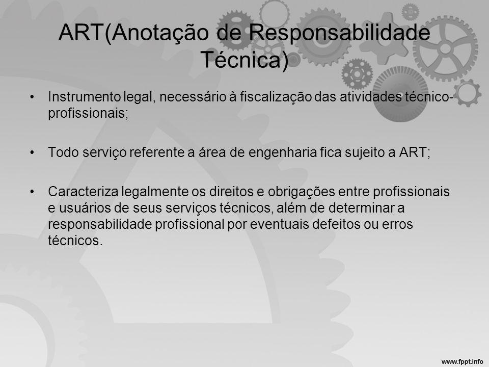 ART(Anotação de Responsabilidade Técnica) •Instrumento legal, necessário à fiscalização das atividades técnico- profissionais; •Todo serviço referente