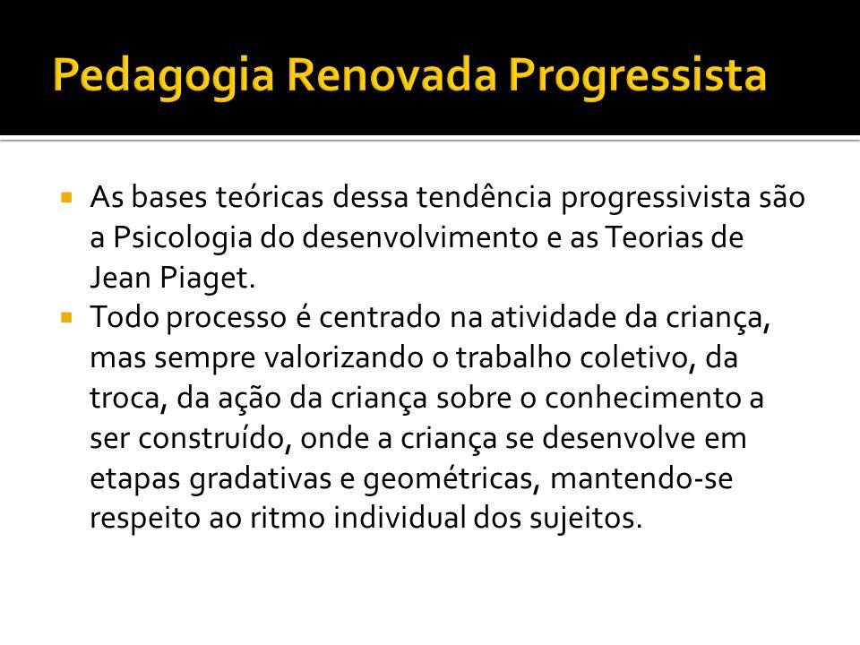  As bases teóricas dessa tendência progressivista são a Psicologia do desenvolvimento e as Teorias de Jean Piaget.  Todo processo é centrado na ativ