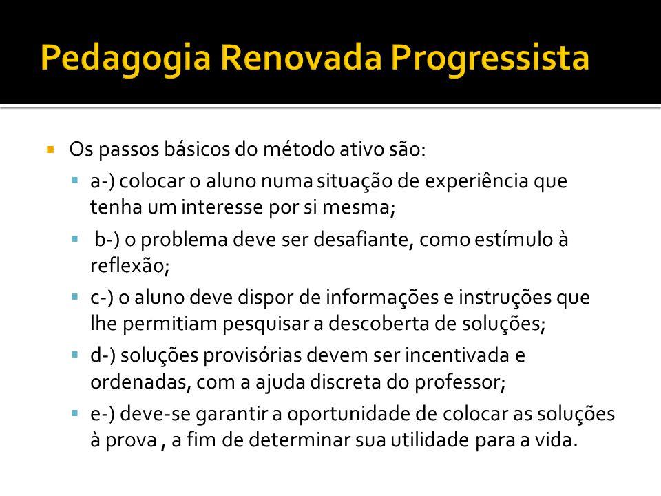  Os passos básicos do método ativo são:  a-) colocar o aluno numa situação de experiência que tenha um interesse por si mesma;  b-) o problema deve