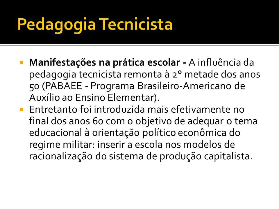  Manifestações na prática escolar - A influência da pedagogia tecnicista remonta à 2° metade dos anos 50 (PABAEE - Programa Brasileiro-Americano de A