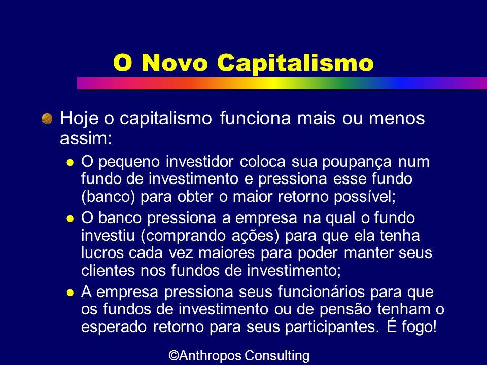 O Novo Capitalismo Hoje o capitalismo funciona mais ou menos assim:  O pequeno investidor coloca sua poupança num fundo de investimento e pressiona e