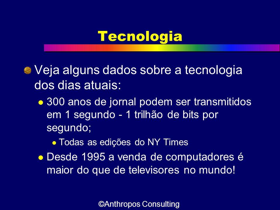 Tecnologia Veja alguns dados sobre a tecnologia dos dias atuais:  300 anos de jornal podem ser transmitidos em 1 segundo - 1 trilhão de bits por segu