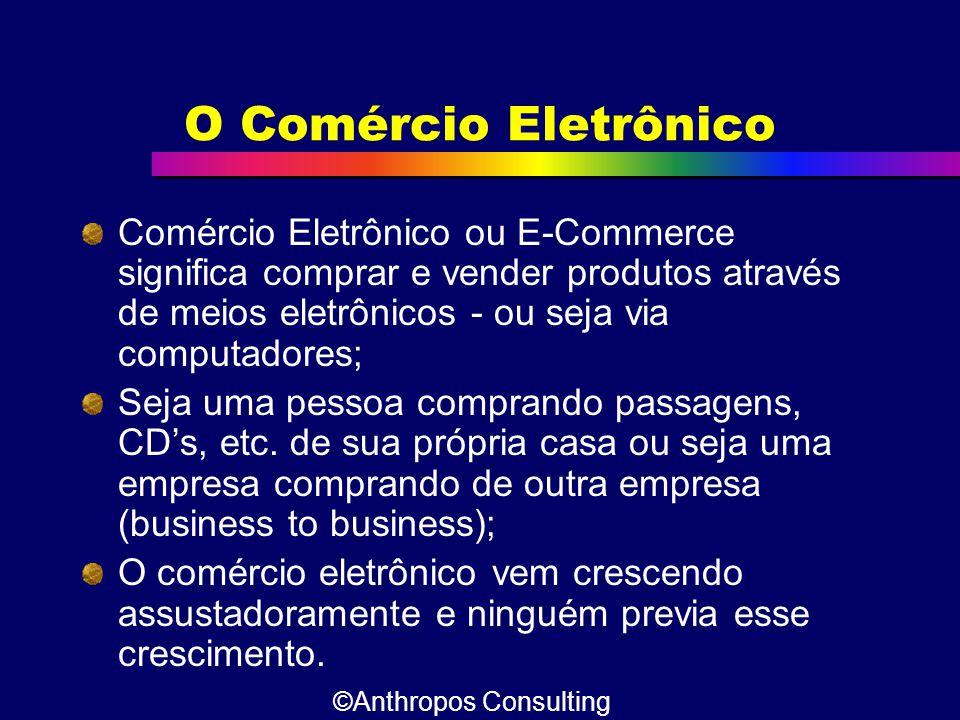 O Comércio Eletrônico Comércio Eletrônico ou E-Commerce significa comprar e vender produtos através de meios eletrônicos - ou seja via computadores; S