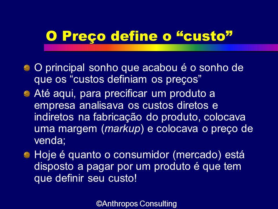 """O Preço define o """"custo"""" O principal sonho que acabou é o sonho de que os """"custos definiam os preços"""" Até aqui, para precificar um produto a empresa a"""