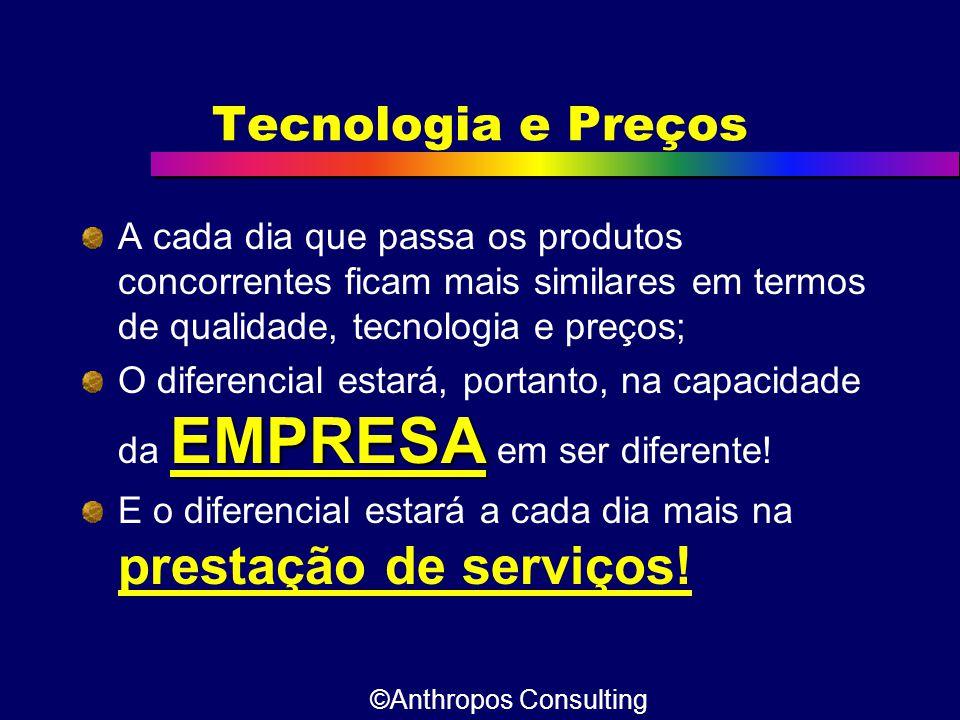 Tecnologia e Preços A cada dia que passa os produtos concorrentes ficam mais similares em termos de qualidade, tecnologia e preços; EMPRESA O diferenc