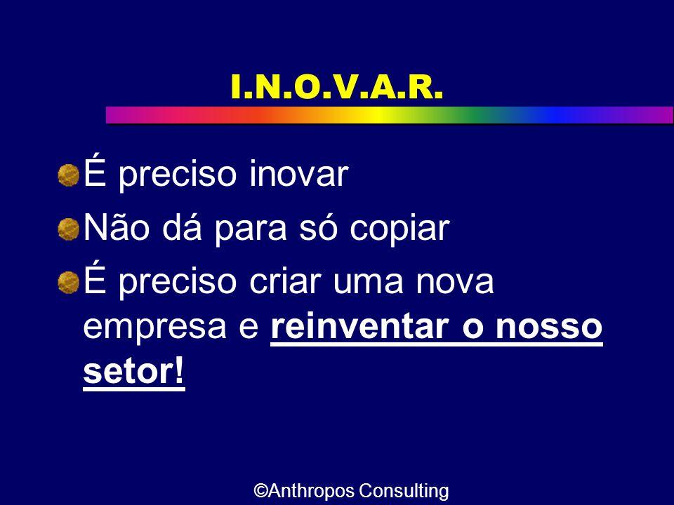 I.N.O.V.A.R. É preciso inovar Não dá para só copiar É preciso criar uma nova empresa e reinventar o nosso setor! ©Anthropos Consulting