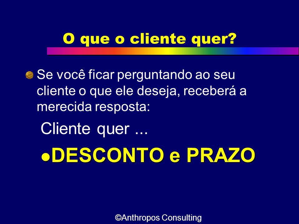 O que o cliente quer? Se você ficar perguntando ao seu cliente o que ele deseja, receberá a merecida resposta: Cliente quer...  DESCONTO e PRAZO ©Ant