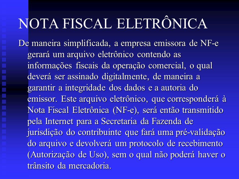 NOTA FISCAL ELETRÔNICA De maneira simplificada, a empresa emissora de NF-e gerará um arquivo eletrônico contendo as informações fiscais da operação comercial, o qual deverá ser assinado digitalmente, de maneira a garantir a integridade dos dados e a autoria do emissor.